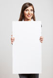 Portrait of young woman with blank white board Stock Images