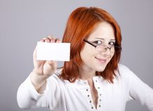 Portrait of an young woman with blank white card Royalty Free Stock Image