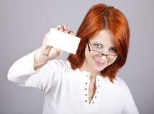 Portrait of an young woman with blank white card Stock Photography