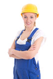 Portrait of young woman in blue builder uniform isolated on whit Stock Image