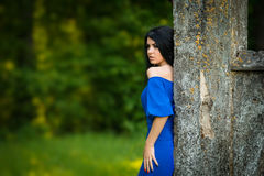 Portrait young Woman In Blue Dress Outdoor Stock Image