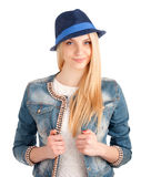 Portrait of young woman in blue hat Stock Images