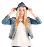 Portrait of young woman in blue hat Royalty Free Stock Photos