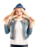 Portrait of young woman in blue hat Royalty Free Stock Image