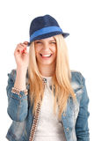 Portrait of young woman in blue hat Stock Photos