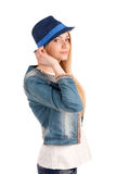 Portrait of young woman in blue hat Stock Photo