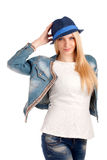 Portrait of young woman in blue hat Royalty Free Stock Images