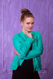 Portrait of a young woman in blue jacket Royalty Free Stock Photography