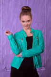 Portrait of a young woman in blue jacket Stock Image