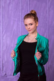Portrait of a young woman in blue jacket Royalty Free Stock Image