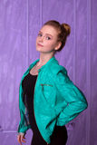 Portrait of a young woman in blue jacket Royalty Free Stock Images