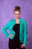 Portrait of a young woman in blue jacket Royalty Free Stock Photo