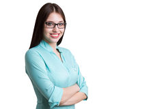 Portrait of young woman in blueish shirt, isolated Royalty Free Stock Photography