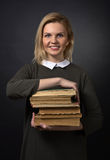 Portrait of young  woman with  books . Royalty Free Stock Photo