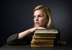 Portrait of young  woman with  books . Stock Photo