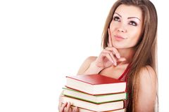 Portrait of a young woman with books isolated Stock Photos