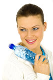 Portrait of a young woman with a bottle of water royalty free stock image