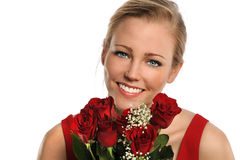 Portrait of Young Woman With Bouquet of Roses Stock Photography