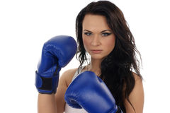 Portrait of a young woman with boxing gloves Royalty Free Stock Photography