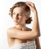 Portrait of young woman with braid hairdo Stock Photo