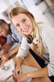 Portrait of young woman in business training Royalty Free Stock Photo