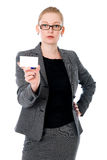 Portrait of young woman with bussiness card Royalty Free Stock Images