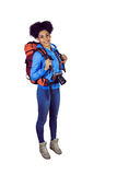 Portrait of a young woman with camera and backpack Royalty Free Stock Photo