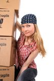Portrait of a young woman with cardboard boxes Royalty Free Stock Images