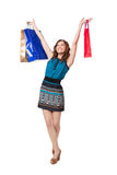 Portrait of young woman carrying shopping bags Royalty Free Stock Photos