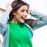 Portrait of young woman casual portrait  positive view Stock Image