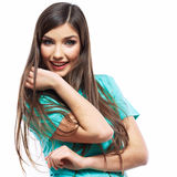 Portrait of young woman casual portrait positive v Stock Image