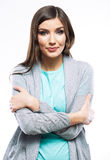 Portrait of young woman casual portrait positive v Royalty Free Stock Image