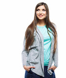 Portrait of young woman casual portrait positive view Royalty Free Stock Photo