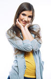 Portrait of young woman casual portrait positive v Royalty Free Stock Photo