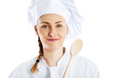 Portrait of young woman chef isolated on white Royalty Free Stock Image