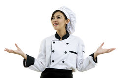 Portrait of young woman chef  on white background. Portrait of Asian young woman chef  on white background Royalty Free Stock Photography