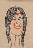 Portrait of the young woman. Children's drawing (cardboard, wax crayons).  Stock Image