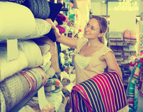 Portrait of young woman choosing blanket. In bedding section in shop Royalty Free Stock Photography