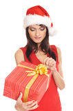Portrait of a young woman in a Christmas hat Stock Photo
