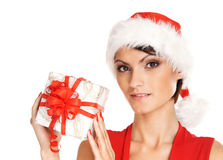 Portrait of a young woman in a Christmas hat Royalty Free Stock Image