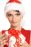 Portrait of a young woman in a Christmas hat Stock Photography