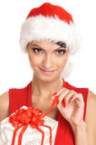 Portrait of a young woman in a Christmas hat Royalty Free Stock Photos