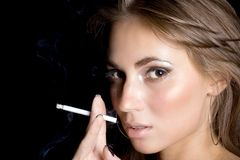 Portrait of the young woman with a cigarette 1 Stock Photo