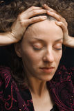 Portrait of a young woman, closed eyes Stock Image