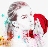 Portrait of young woman and colorful paint blots. Isolated on white stock images