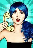 Portrait of young woman in comic pop art make-up style. Female in blue wig on blue background calls by phone royalty free illustration