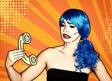 Portrait of young woman in comic pop art make-up style. Female in blue wig calls by phone vector illustration