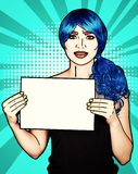 Portrait of young woman in comic pop art make-up style. Female with paper in hands royalty free illustration