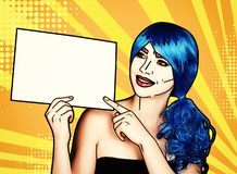 Portrait of young woman in comic pop art make-up style. Female with paper in hands stock illustration