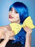 Portrait of young woman in comic  pop art make-up style. Girl wi Royalty Free Stock Image